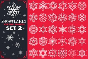 Decorative Snowflakes Shapes Set 2