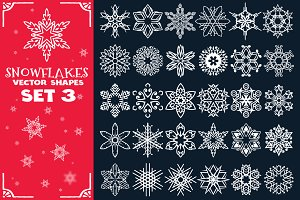 Decorative Snowflakes Shapes Set 3