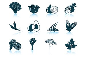 Set of 12 Vegetable Icons