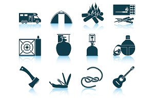 Set of 12 Camping Icons.