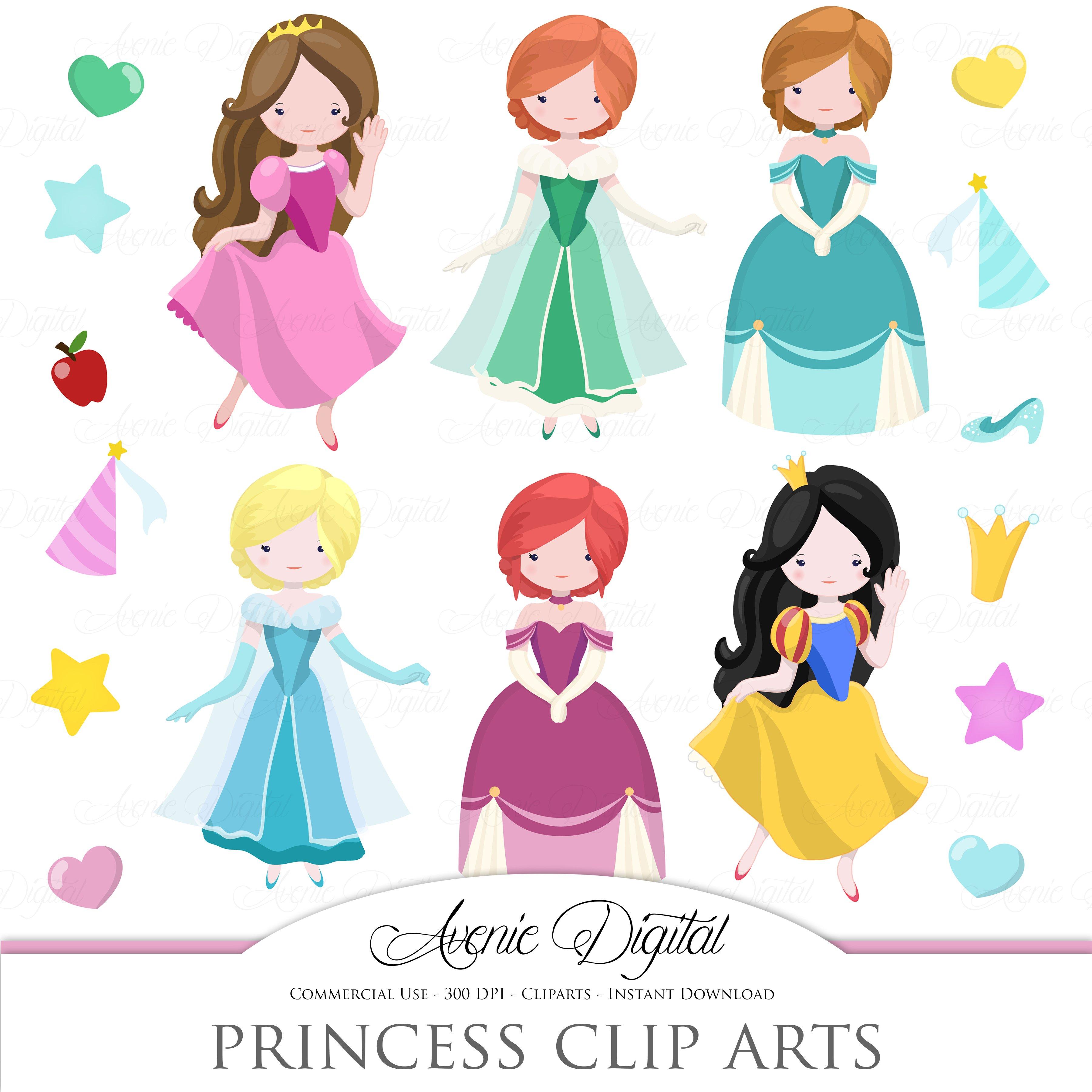 Fairytale Princess Clip Art Vector Illustrations