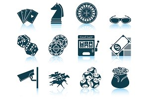 Set of 12 Casino Icons.