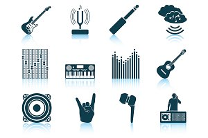 Set of 12 Musical Icons.