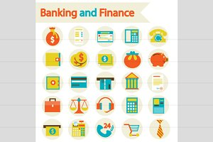 Banking And Finance Set Icons
