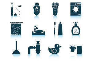 Set of 12 Bathroom Icons