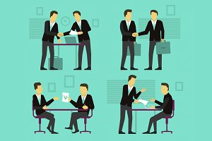 Two businessman negotiate and sign a