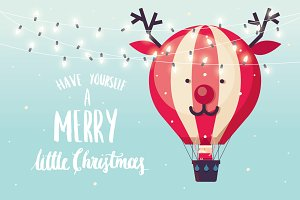 reindeer hot air balloon vector