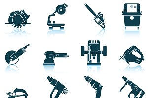 Set of 12 Electrical Work Tool Icons