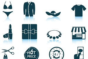Set of 12 Shopping Icons