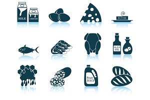 Set of 12 Food Icons