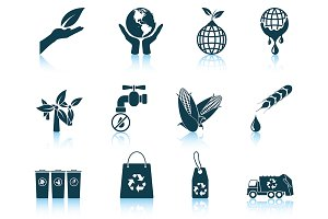 Set of 12 Ecological Icons