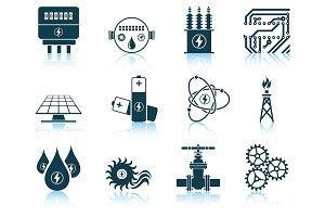 Set of 12 Energy Icons