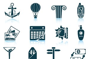Set of 12 Travel Icons