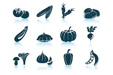 Set of 12 Vegetables Icons