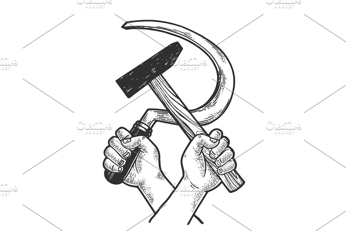 Hands with Hammer and sickle sketch