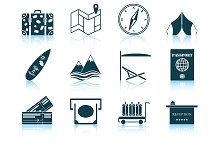 Set of 12 Travel Icons