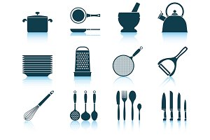Set of 12 Kitchen Utensils Icons