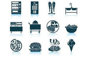 Set of 12 Rrestaurant Icons