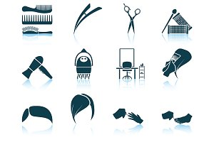 Set of 12 Hairdresser Icons