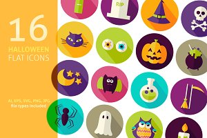 Scary Halloween Vector Flat Icon Set