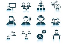 Set of 12 Business People Icons