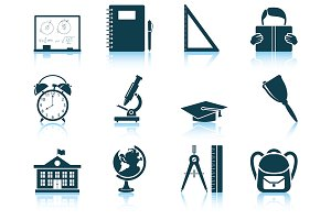Set of 12 Education Icons