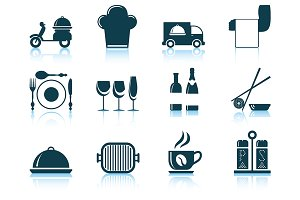 Set of 12 Restaurant Icons