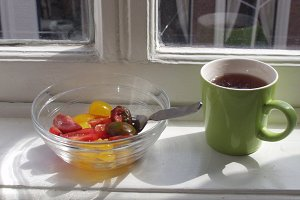 Tea and tomatoes for breakfast
