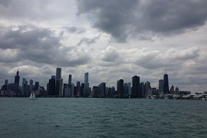 Storm clouds over Chicago skyline