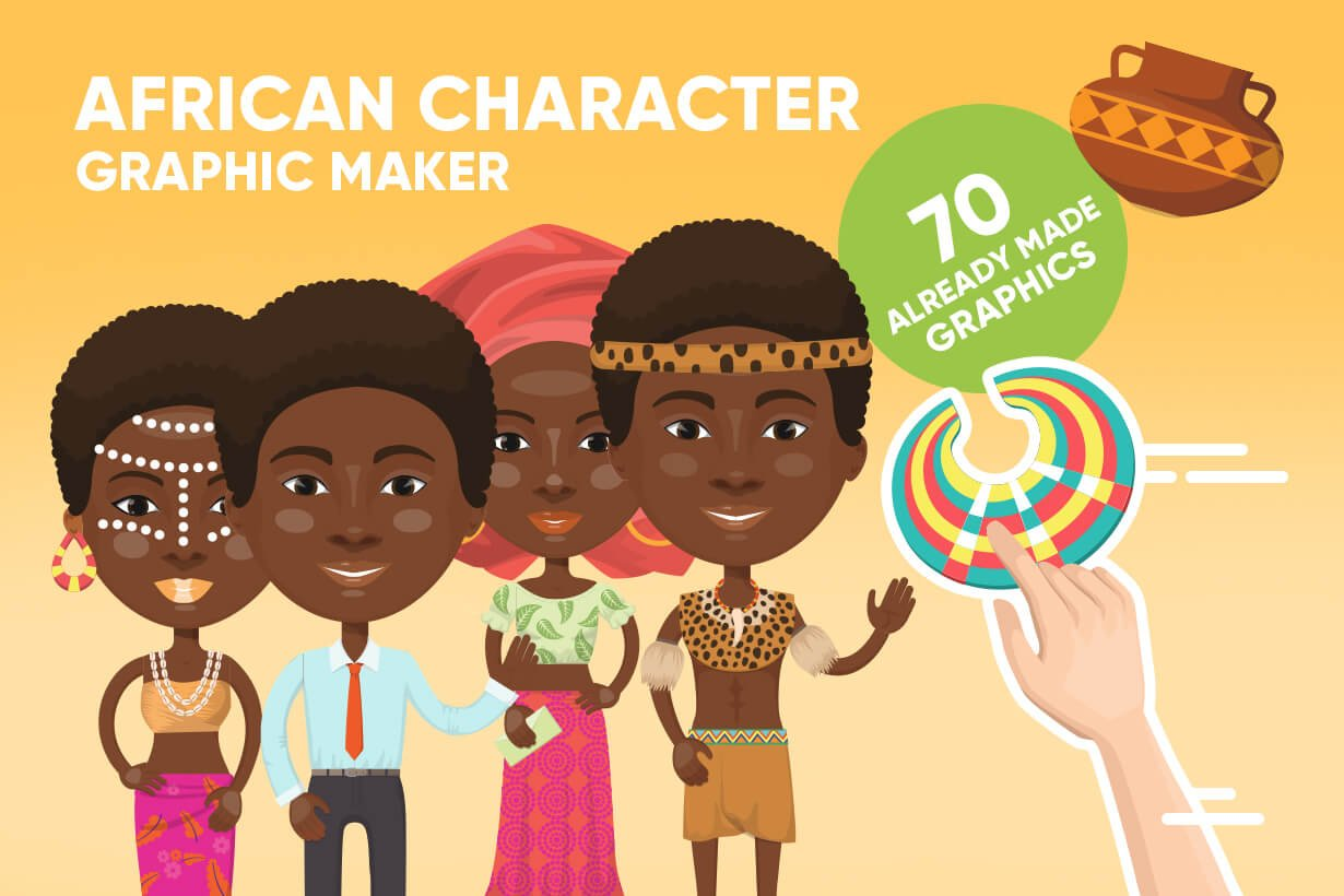 African Cartoon Character Maker Pre Designed Illustrator Graphics Creative Market