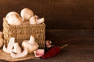 mushrooms in a rustic box