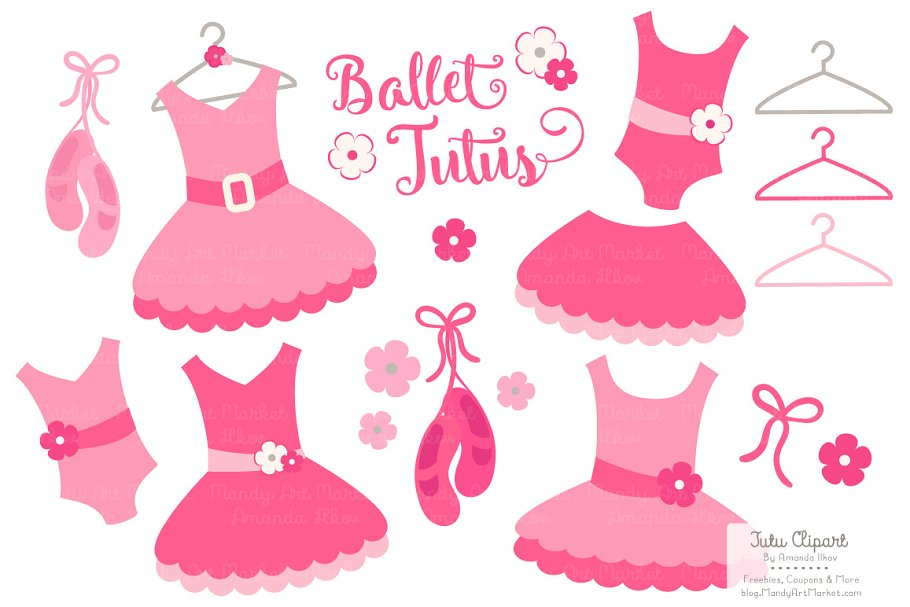 1dc831b5e8766 Hot Pink Ballet Tutus Clipart ~ Illustrations ~ Creative Market