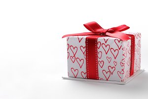 Open white gift box hearts front