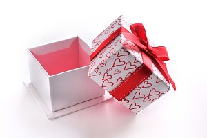 Open white gift box hearts isolated