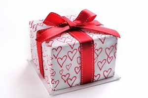 White gift box hearts isolated