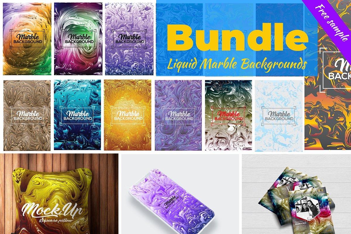Liquid Marble Backgrounds Bundle