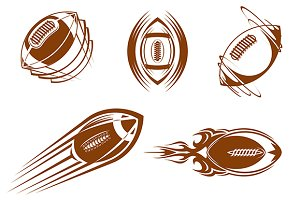 Rugby and football balls