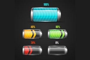 Battery Level Indicator Set. Vector