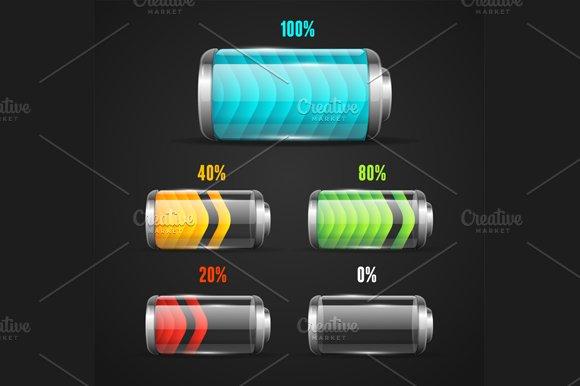 Battery Level Indicator Set. Vector - Illustrations