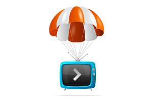 Tv and Parachute. Vector