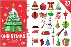 Christmas 3D Objects Set