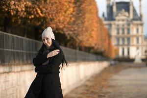 Girl in Autumn Paris