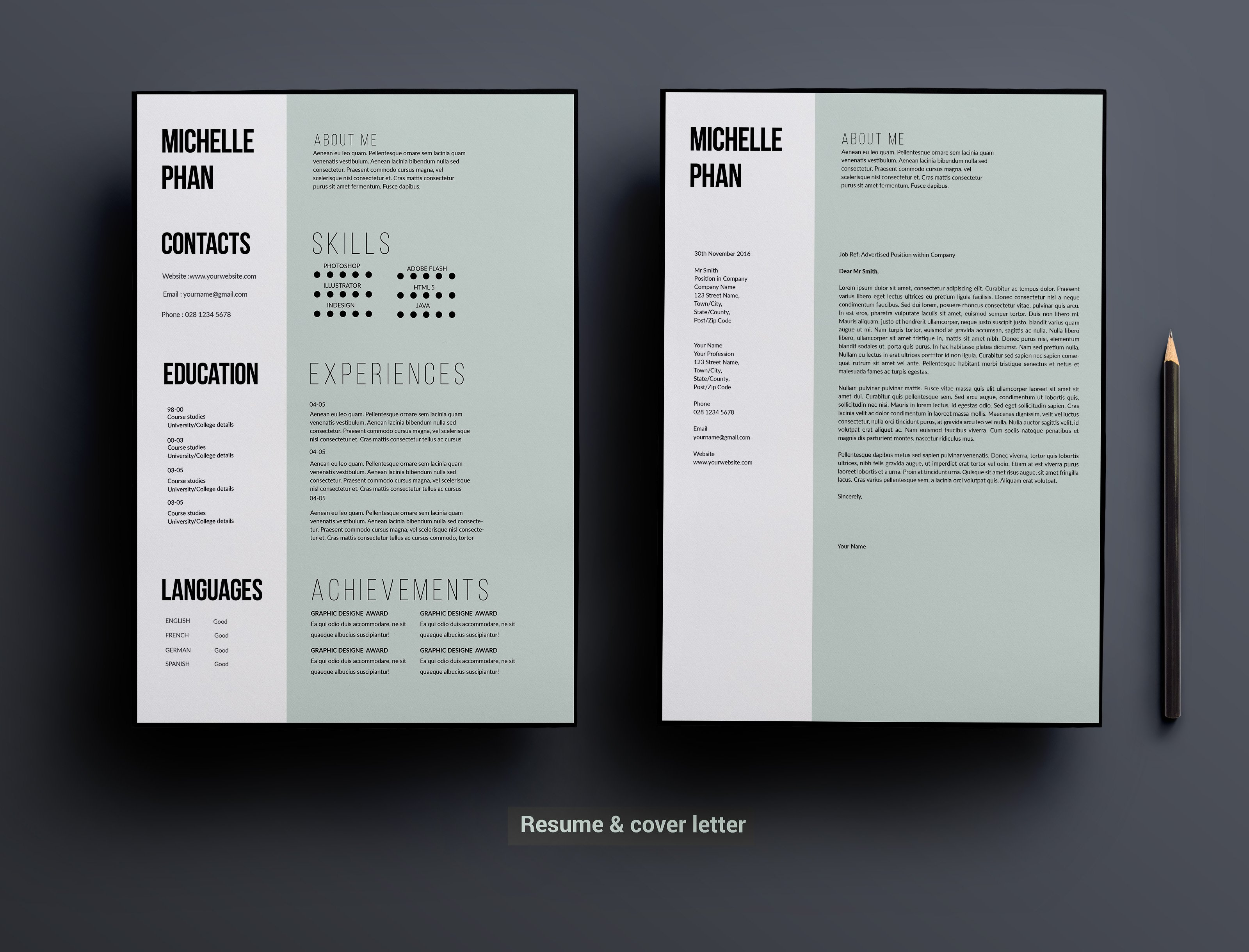 1 page cv template minimal design resume templates creative market - Resume Cover Letter Design