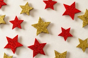 Xmas background golden and red stars