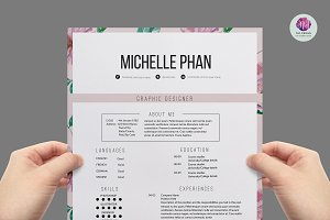 Floral 1 page resume template