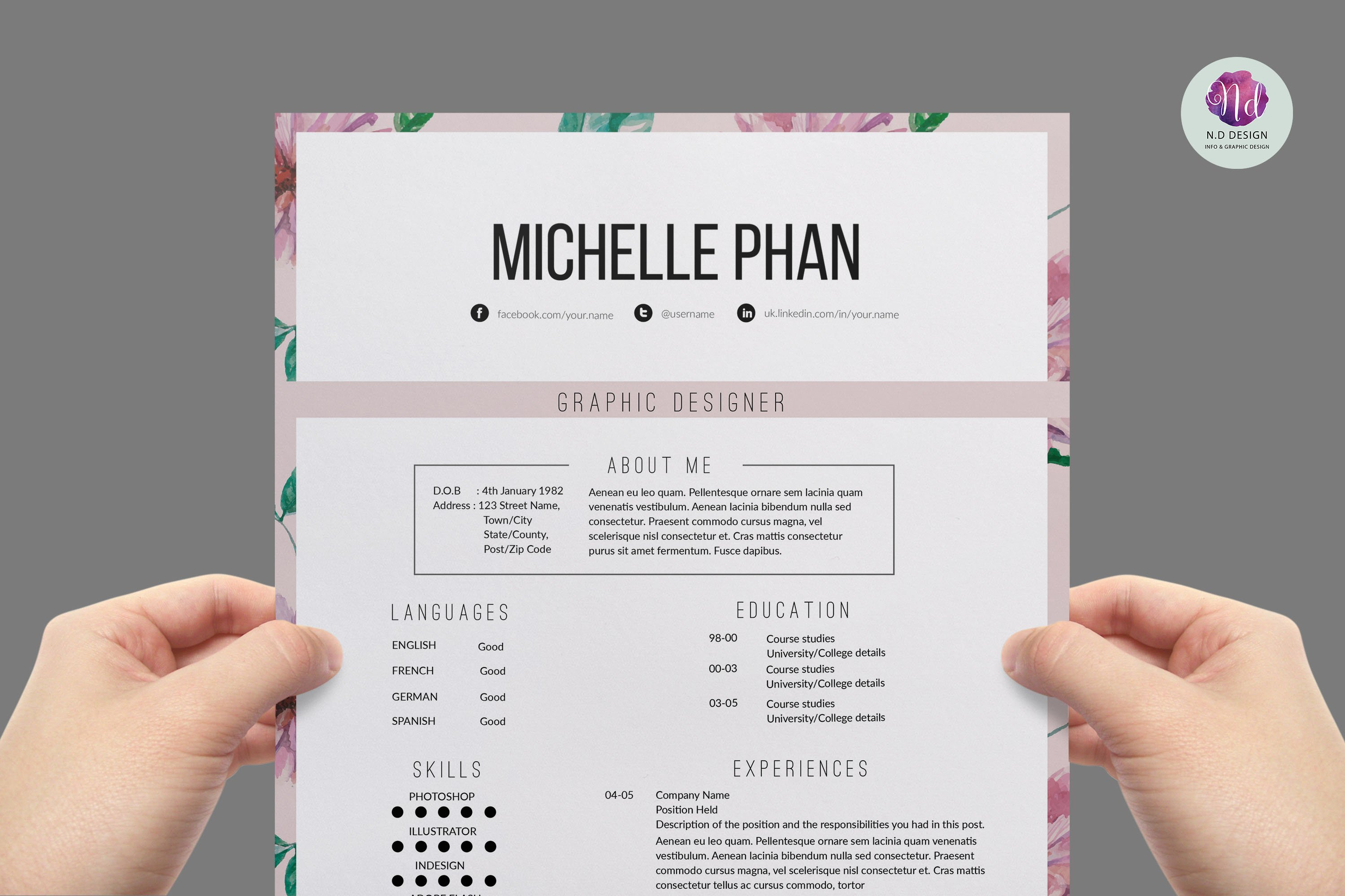 elegant resume template resume templates on creative market floral 1 page resume template
