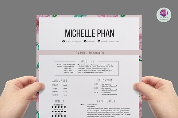 floral 1 page resume template resume templates creative market