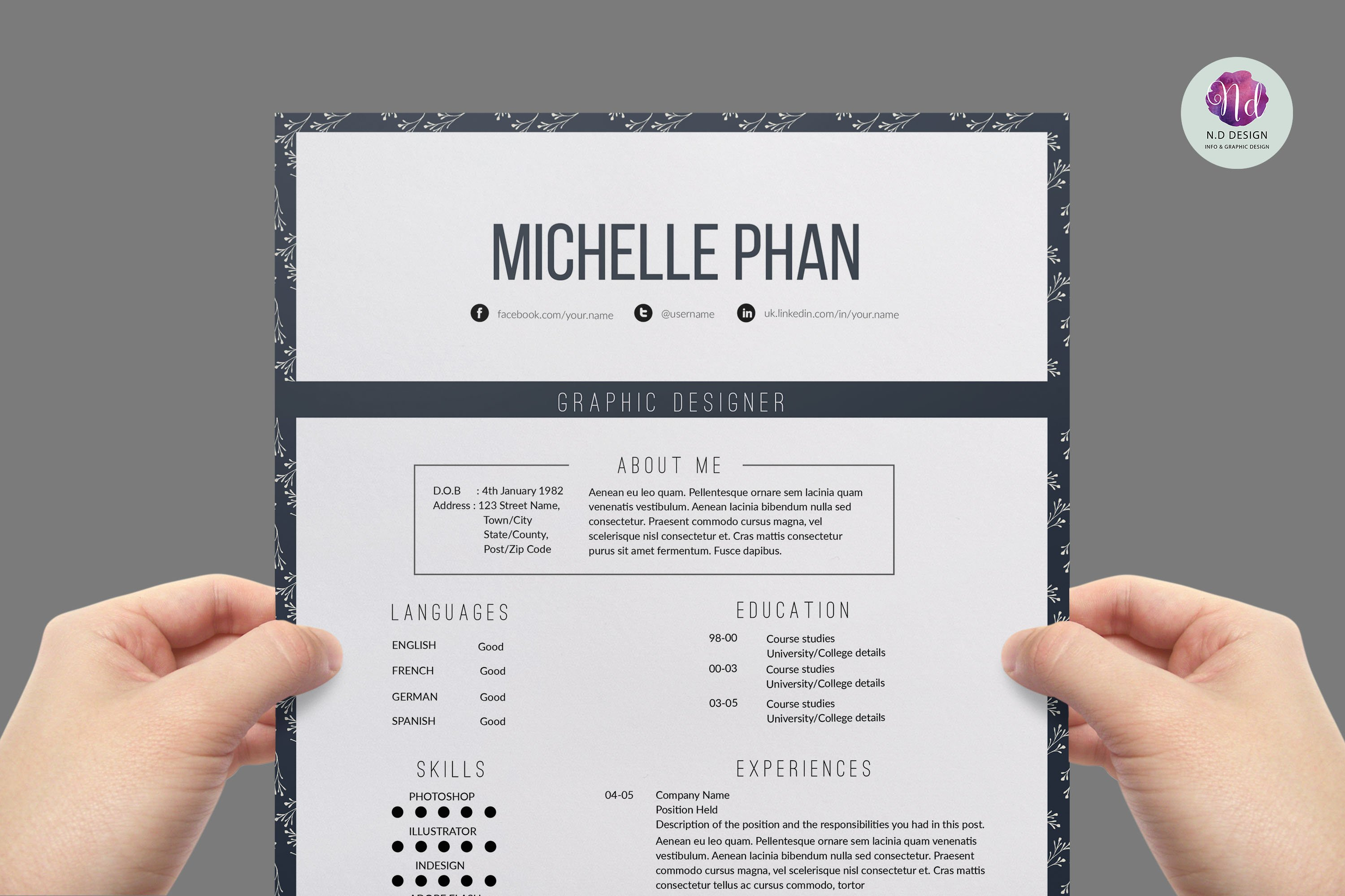 Elegant resume template resume templates creative market yelopaper Gallery