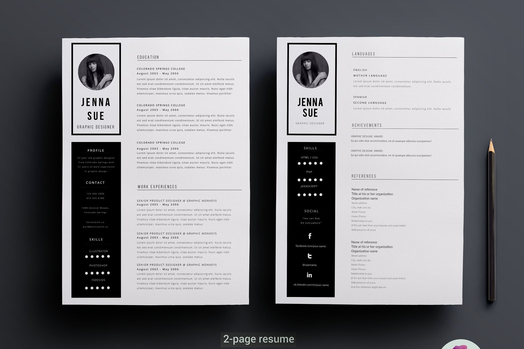2 page CV template - Resume Templates | Creative Market Pro