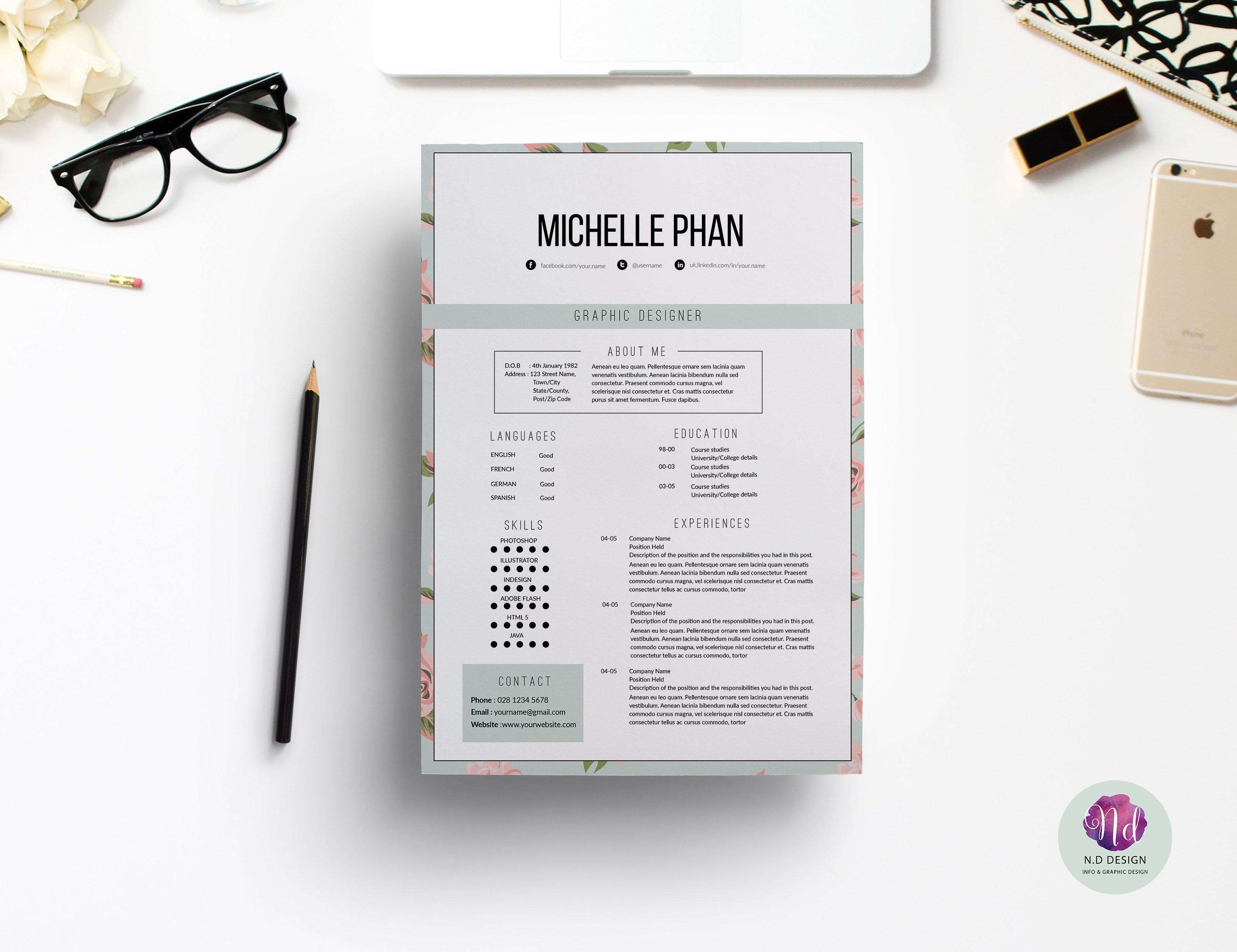 Elegant , floral CV template ~ Resume Templates ~ Creative Market